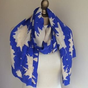 Long silk Albert Nippon scarf,  CORNFLOWER BLUE